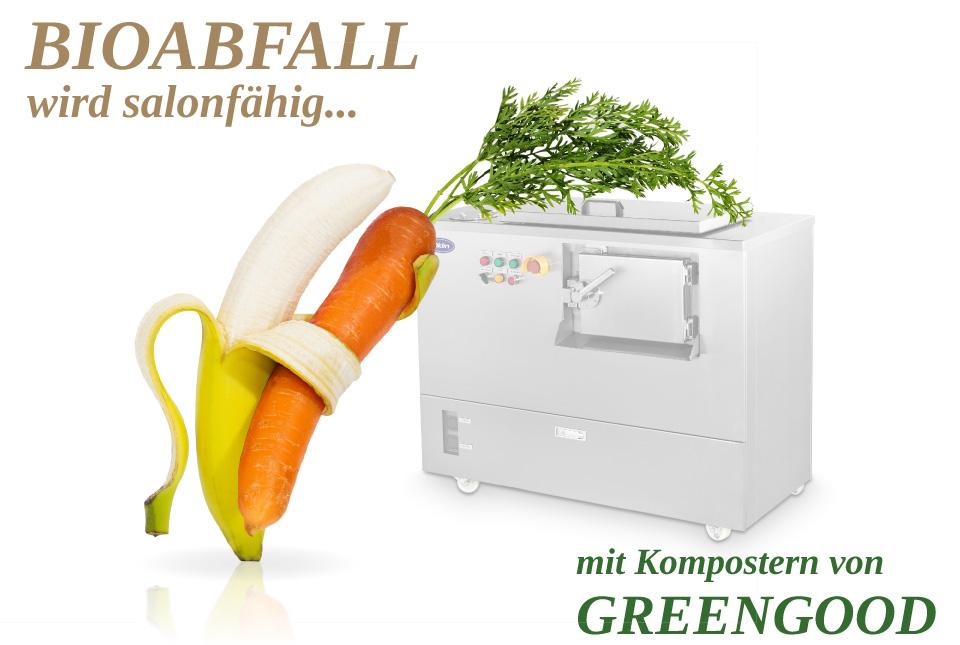 Kompostiergeräte zur Speiseresteentsorgung und Bioabfallentsorgung  von Greengood sparen Kosten bei der Bioafallentsorgung